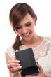 Smiling Pretty Woman Opening Black Jewellery Box
