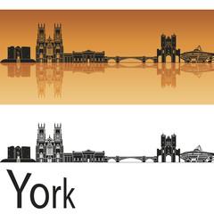 York skyline in orange background