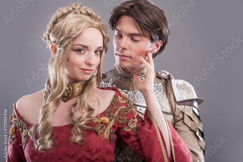 Leinwanddruck Bild Medieval lovers