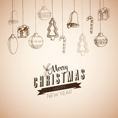 Merry Christmas hand drawn doodles poster design. With decoratio
