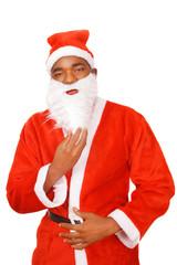 Santa Claus holding beard, a Christmas portrait