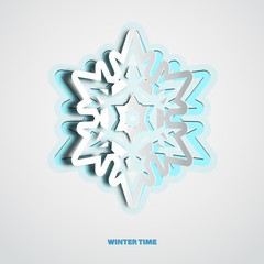 Vector paper cut christmas snowflake on a white background