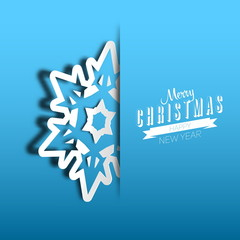 Vector paper cut christmas snowflake on a blue background, Merry