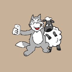 Selfie wolf and sheep