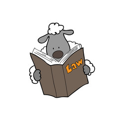 Sheep reads law book