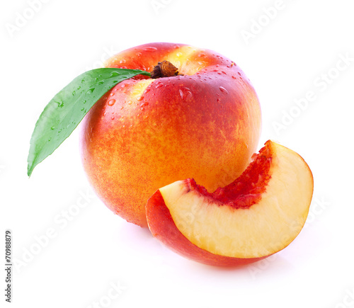 Papiers peints Cuisine Ripe peach with leaf.