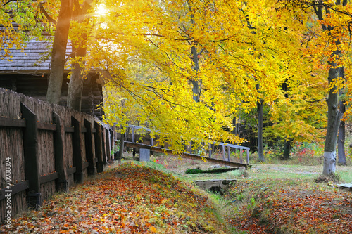 Small wooden bridge and tower. Autumn Poster