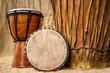 Leinwanddruck Bild - handmade djembe drums