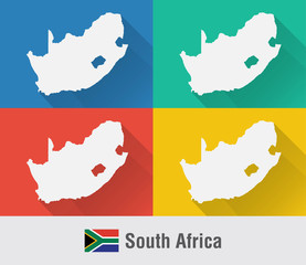 South Africa world map in flat style with 4 colors.