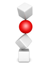 different red sphere out from white cubes tower stack