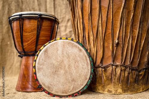 Leinwanddruck Bild handmade djembe drums