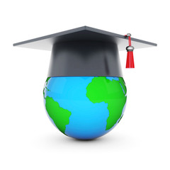 graduate hat and globe