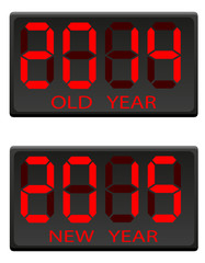 electronic scoreboard old and the new year vector illustration