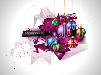 Modern Christmas Background with abstract geometric shapes