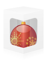 new year packing box with ball vector illustration