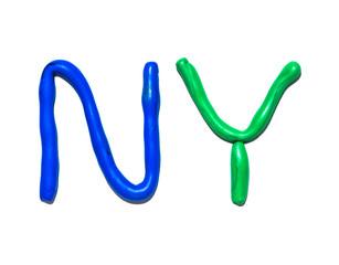 Text NY from plasticine