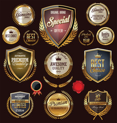Golden premium quality retro vintage badges