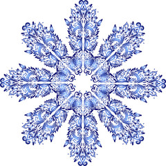 blue decorated snowflake isolated on white
