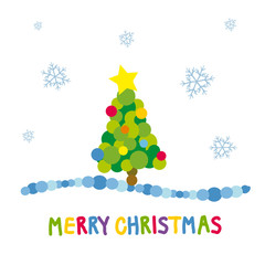 Merry Christmas with tree vector illustration
