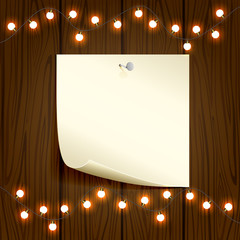 Christmas light and paper