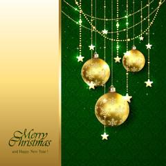 Golden Christmas balls on green background