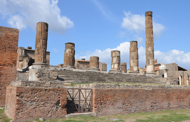 The ruins of the temple of Jupiter in Pompeii