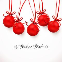 Weihnachtskugeln mit Schleifen - Frohes Fest