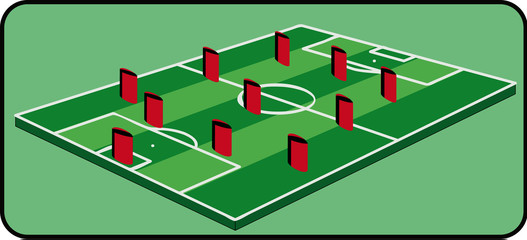 3d Soccer field vector with players, footballer