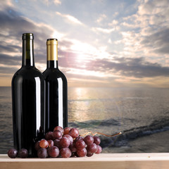 Bottles of wine with a seascape view