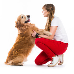 Happy women with her dog