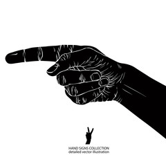 Finger pointing hand, detailed black and white vector illustrati