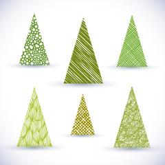 Christmass tree vector set.