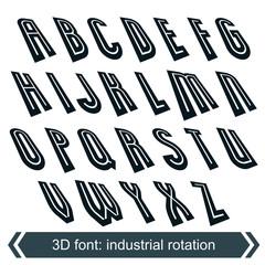Headline retro style, technical 3D font, contemporary shift lett