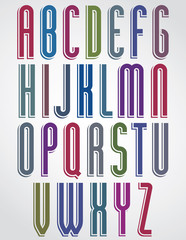 Thin narrow bright animated font, uppercase letters with rounded