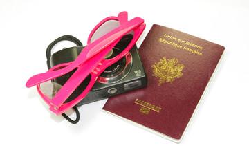 passeport et accessoires de vacances