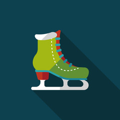 ice skate flat icon with long shadow,eps10