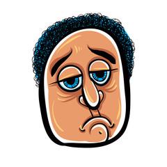 Sad cartoon face, vector illustration.
