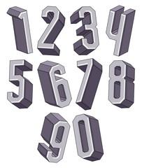 3d geometric numbers set.