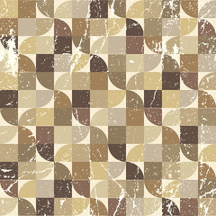 Vintage tattered seamless pattern, vector geometric abstract bac