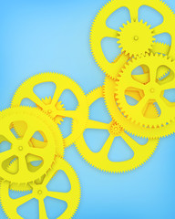 Blue background with gears yellow.