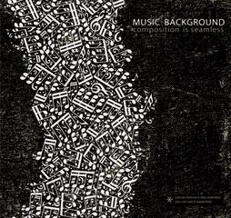 Vector dark grunge seamless music background, canvas texture wit