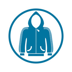 Cloth icon, vector illustration of sweater with a hood.