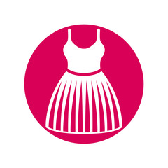 Cloth icon, vector illustration of dress with a skirt.