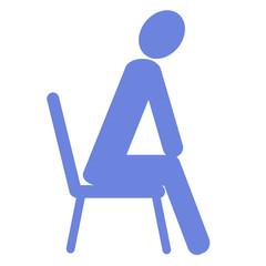 椅子に座る人のイラスト 右向き青