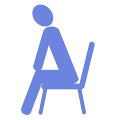 椅子に座る人のイラスト 左向き青