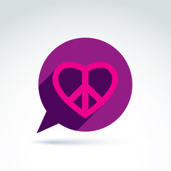 Chat on peace and love theme. Antiwar and love vector icons, lov