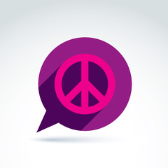 Chat on peace theme. Antiwar vector icon, speech bubble with a p