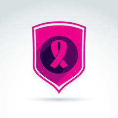 Breast cancer ribbon placed on a purple shield, vector healthcar