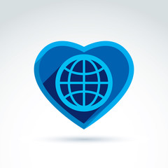 Blue simple planet icon placed in a heart, vector globe conceptu