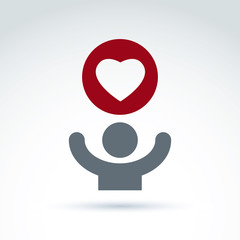Vector charity and donation symbol. Illustration of a red loving